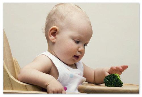 Прикорм ребенка зелеными овощами
