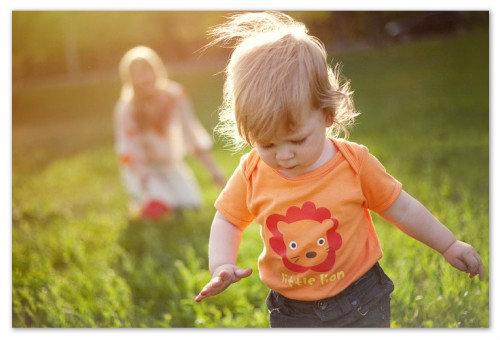 Мальчик гуляет в поле.